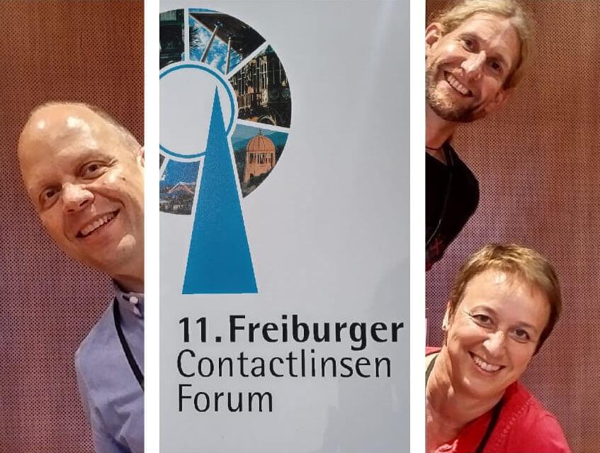 """""""Was hilft bei Kurzsichtigkeit?"""" Neues Wissen zu Myopie-Management und Nachtlinsen – und ein Allergie-Kit für die Augen: Die dreiköpfige Avermann-Delegation brachte einiges mit vom Hecht-Kontaktlinsenforum im September."""